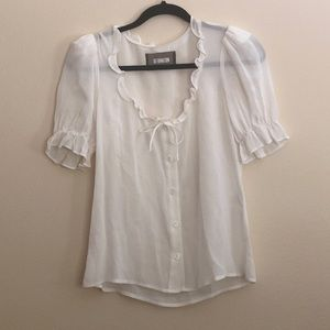 REFORMATION White Ruffle Top - Size XS